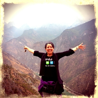 Olenka during a trekking in China